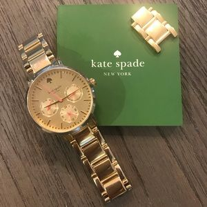 Kate Spade Gramercy Gold Watch, Pink Accents